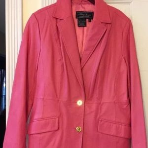 BARBIE Pink Leather Skirt Suit
